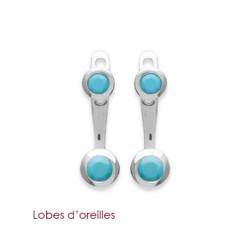 Lobes d'oreilles en argent 925/000 rhodié pierres sertis clos en turquoise bleu obrillant-bijoux