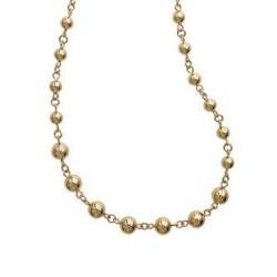 Collier en plaqué or maille boules ciselées en 8 mm mode obrillant-bijoux