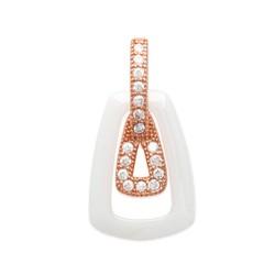 Pendentif plaqué or rose maillon en céramique blanche pavé zirconium obrillant-bijoux