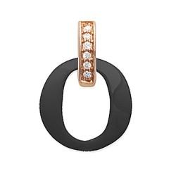 Pendentif plaqué or rose anneau en céramique noir pavé zirconium blanc  obrillant-bijoux