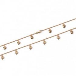 Chaîne de cheville en plaqué or breloques coeurs ciselés obrillant-bijoux