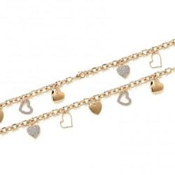 Bracelet en plaqué or cœurs ciselés en breloques pavé de zirconium obrillant-bijoux