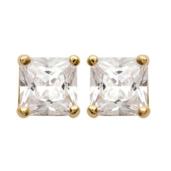 Boucles d'oreilles puces plaqué or pierre carré zirconium blanc obrillant-bijoux