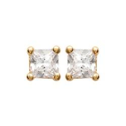 Boucles d'oreilles puces plaqué or pierre carré zirconium blanc mixte obrillant-bijoux