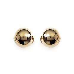 Boucles d'oreilles puces plaqué or boule diamètre 8 mm obrillant-bijoux