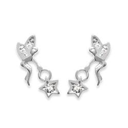 Boucles d'oreilles pendantes argent 925/000 rhodié fée clochette pavé en zirconium blanc obrillant-bijoux