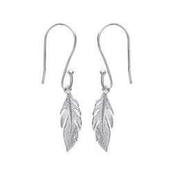 Boucles d'oreilles pendantes argent 925/000 rhodié plumes ciselées obrillant-bijoux