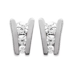 Boucles d'oreilles en argent 925/000 rhodié puces pavé 3 pierres zirconium obrillant-bijoux