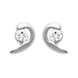 Boucles d'oreilles puces en argent 925/000 rhodié virgule pierre en zirconium blanc obrillant-bijoux