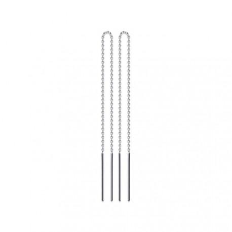 Boucles d'oreilles traversantes argent 925 rhodié chainette tiges Obrillant-Bijoux