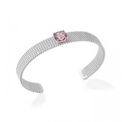 Jonc en argent rhodié perlées pierre carré en cristal à facettes rose Obrillant-Bijoux