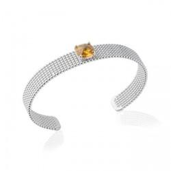 Jonc en argent rhodié perlées pierre carré en cristal à facettes orange Obrillant-Bijoux