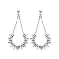 Boucles d'oreilles pendantes en argent rhodié soleil irisé stylisé Obrillant-Bijoux