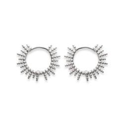 Créoles en argent rhodié anneau soleil irisé stylisé Obrillant-Bijoux