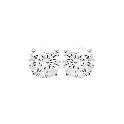 Puces d'oreilles en argent 925/000 rhodié pierre sertie griffes 6 mm en zirconium blanc obrillant-bijoux