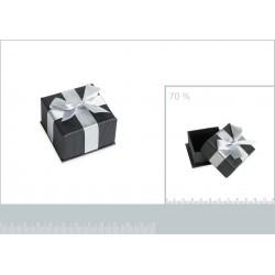 Ecrin cartonné gris pour bague boucles petit noeud satin obrillant bijoux