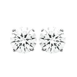 Puces d'oreilles en argent 925/000 rhodié pierre sertie griffes 8 mm en zirconium blanc obrillant-bijoux