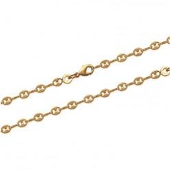 Chaîne de cheville en plaqué or maillons grains de café ciselés obrillant-bijoux