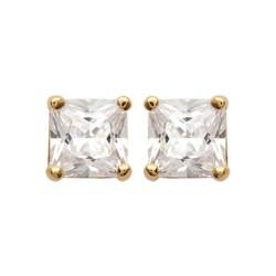 Boucles d'oreilles puces plaqué or pierre carré zirconium blanc 5 mm mixte obrillant-bijoux