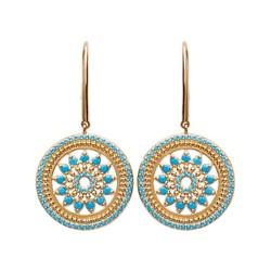 Boucles d'oreilles en plaqué or anneau rosace en dentelle en turquoises bleu de synthèse obrillant-bijoux