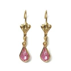 Boucles d'oreilles dormeuses plaqué or goutte poire cristal rose obrillant-bijoux