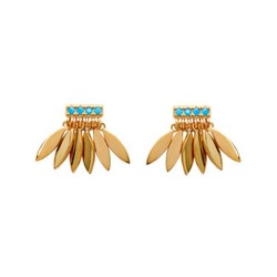Boucles d'oreilles en plaqué or petites plumes et pierres en turquoises de synthèse obrillant-bijoux