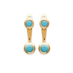 Lobes d'oreilles en plaqué or pierre sertie clos en turquoises de synthèse obrillant-bijoux