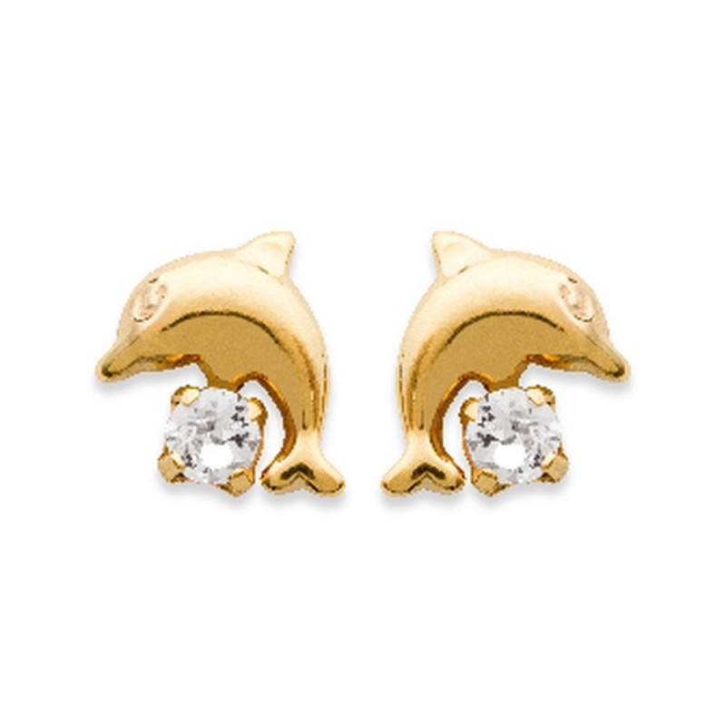 PAIRE de BOUCLES d/'oreilles DAUPHIN Plaqué Or 18 carats