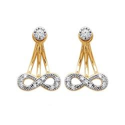 Boucles lobes d'oreilles plaqué or nœud infini pavé zirconium obrillant-bijoux