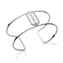 Manchette en argent 925/000 rhodié pavé en pierres zirconium blanc obrillant-bijoux