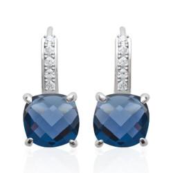 Boucles d'oreilles dormeuses en argent 925 rhodié pierre carré en cristal bleu et zirconium obrillant-bijoux