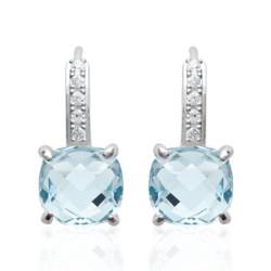 Boucles d'oreilles dormeuses en argent 925 rhodié pierre carré en cristal aquamarine et zirconium obrillant-bijoux