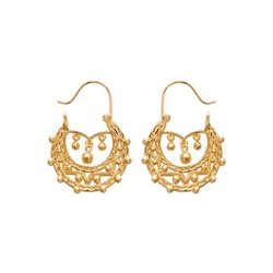 Créoles plaqué or style gitanes finement ciselé bohème obrillant-bijoux