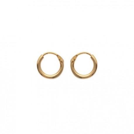 Créoles plaqué or anneaux fil rond 1,5 mm diamètre 10 mm obrillant-bijoux