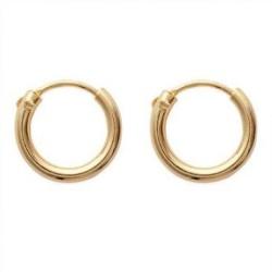 Créoles plaqué or anneaux fil rond 2 mm diamètre 12 mm obrillant-bijoux