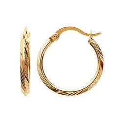 Créoles plaqué or anneaux finement ciselés diamètre 20 mm obrillant-bijoux