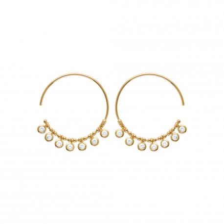 Créoles en plaqué or anneaux pierres pampilles serties clos en zirconium blanc obrillant-bijoux