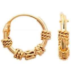 Créoles en plaqué or Balinaise anneaux ciselées diamètre 12 mm