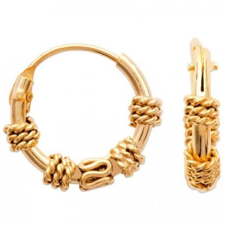 Créoles mixte en plaqué or balinaise 12 mm obrillant-bijoux