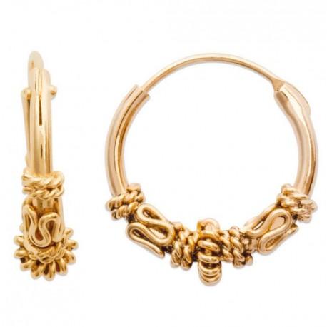 Créoles mixte en plaqué or balinaise 14 mm obrillant-bijoux