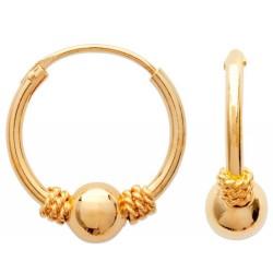 Créoles mixte en plaqué or balinaise boule 12 mm obrillant-bijoux