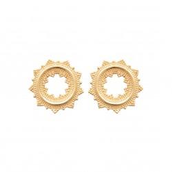 Boucles d'oreilles pendantes en plaqué or cercles fines ciselures obrillant-bijoux