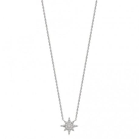 Collier en argent 925/000 rhodié étoile pavé en pierres zirconium blanc obrillant-bijoux