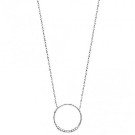 Collier en argent massif 925/1000 rhodié anneau pavé en zirconium obrillant-bijoux