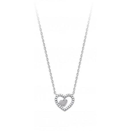 Collier en argent 925/000 rhodié coeur pavé en zirconium blanc obrillant-bijoux