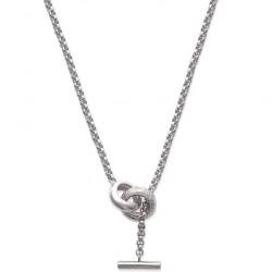 Collier en argent 925/000 rhodié anneaux entrelacé pavé zirconium fermoir cabillaud obrillant-bijoux