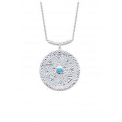 Collier en argent 925/000 rhodié large anneau cercle ciselé pavé en pierres turquoises de synthèse obrillant-bijoux