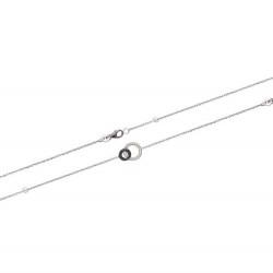 Bracelet en argent 925/000 rhodié cercles entrelacés pavé en zirconium blanc et noir obrillant-bijoux