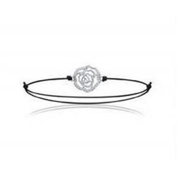 Bracelet cordon réglable en argent rhodié fleur en zirconium obrillant-bijoux