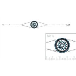Bracelet en argent 925 rhodié large cercle dentelle pavé de turquoises synthèse promotion obrillant-bijoux